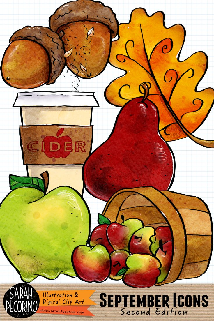 september icons clip art by sarah pecorino featuring green apple red pear cup of hot apple cider acorn pair oak leaf and barrel of apples  [ 735 x 1102 Pixel ]
