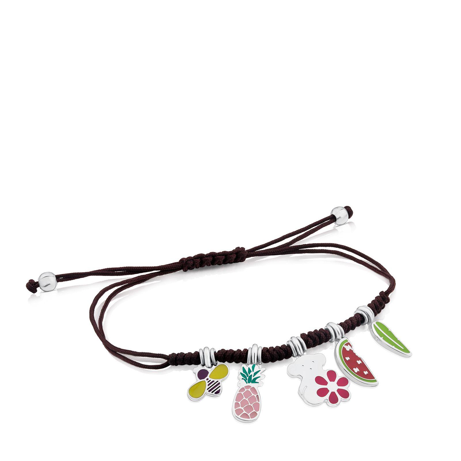 797a39ae0a75 Pulsera TOUS Chokers de Plata Vermeil rosa y Cordón en color marino ...