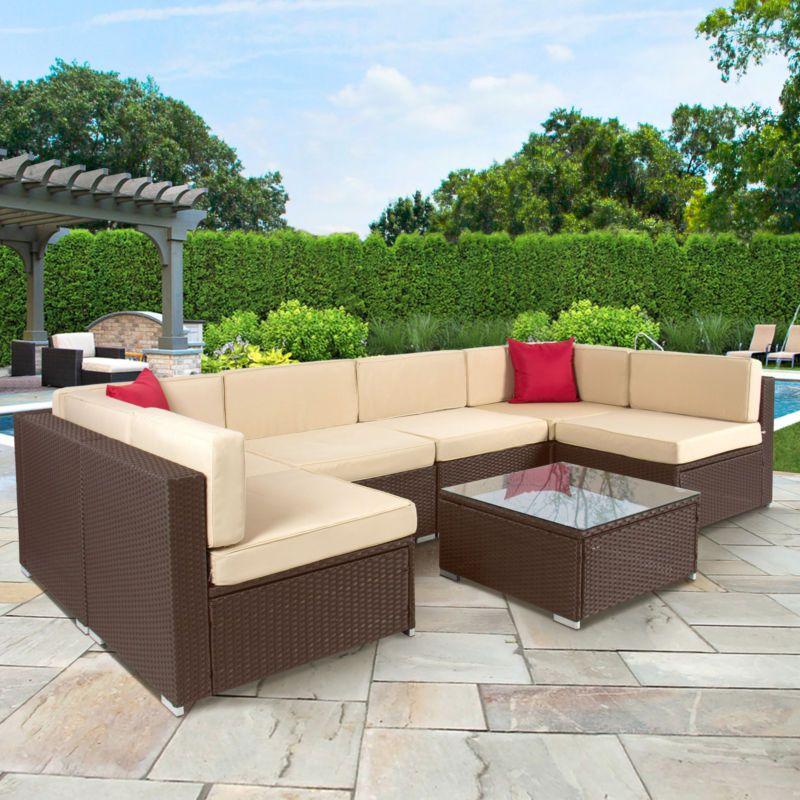 7pc Outdoor Patio Garden Furniture Wicker Rattan Sofa Set