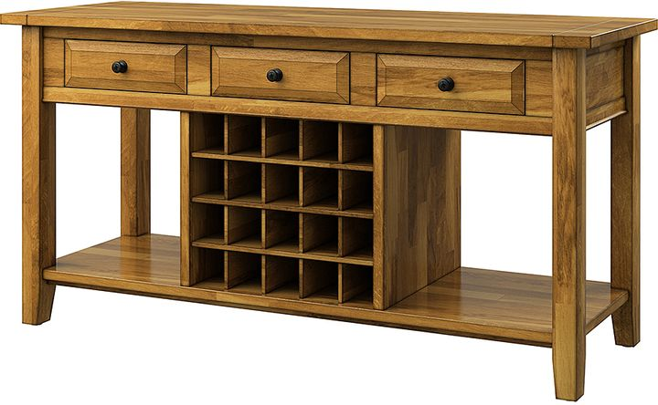 farmhouse buffet table with wine storage