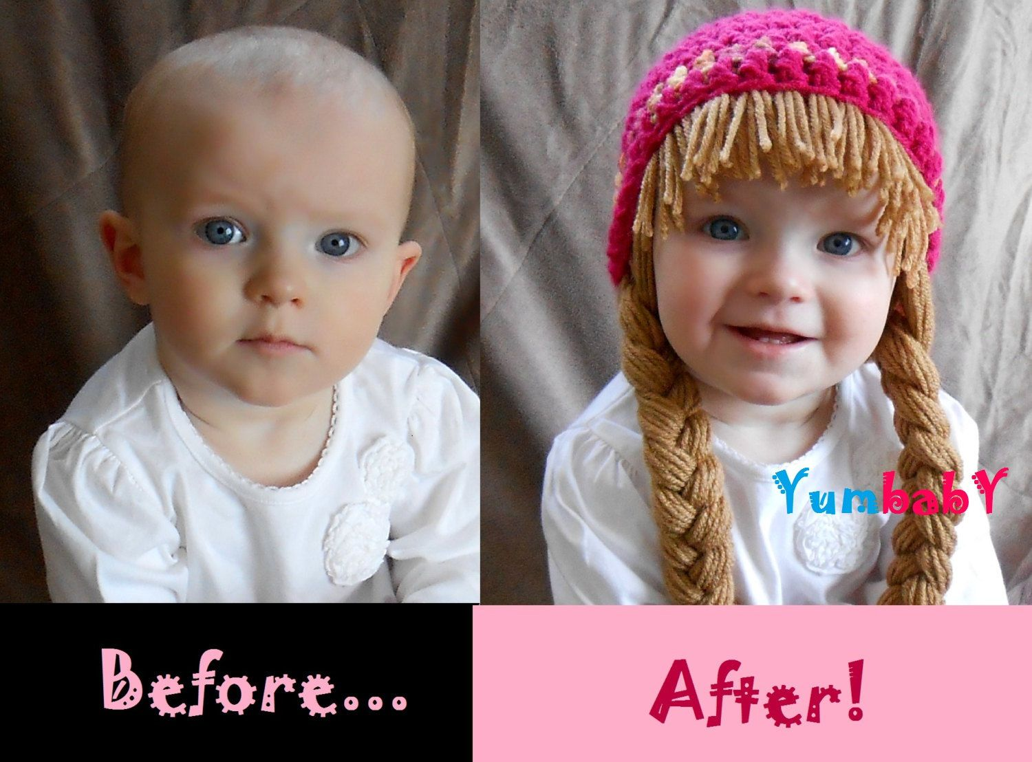 Baby Beanie Wig Beanie Pigtail Wig Hot Pink Baby Hat. $19.95, via ...