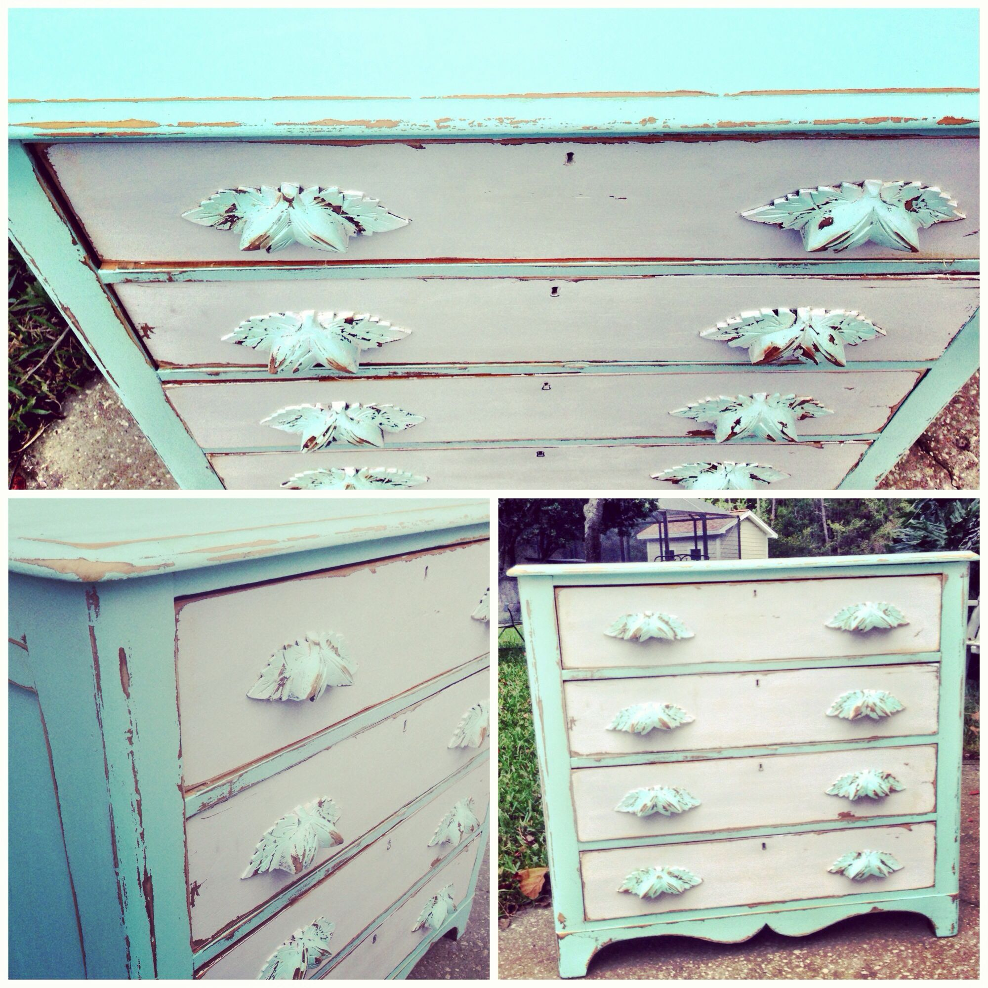 Mint White Vintage Dresser Distressed Wood Shabby Chic Hand Painted Furniture Cottage Style Beachy Keyhole Drawers Detailed Pulls