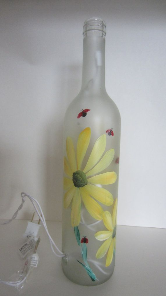 Hand Painted Frosted Lighted Bottle Yellow Daisy
