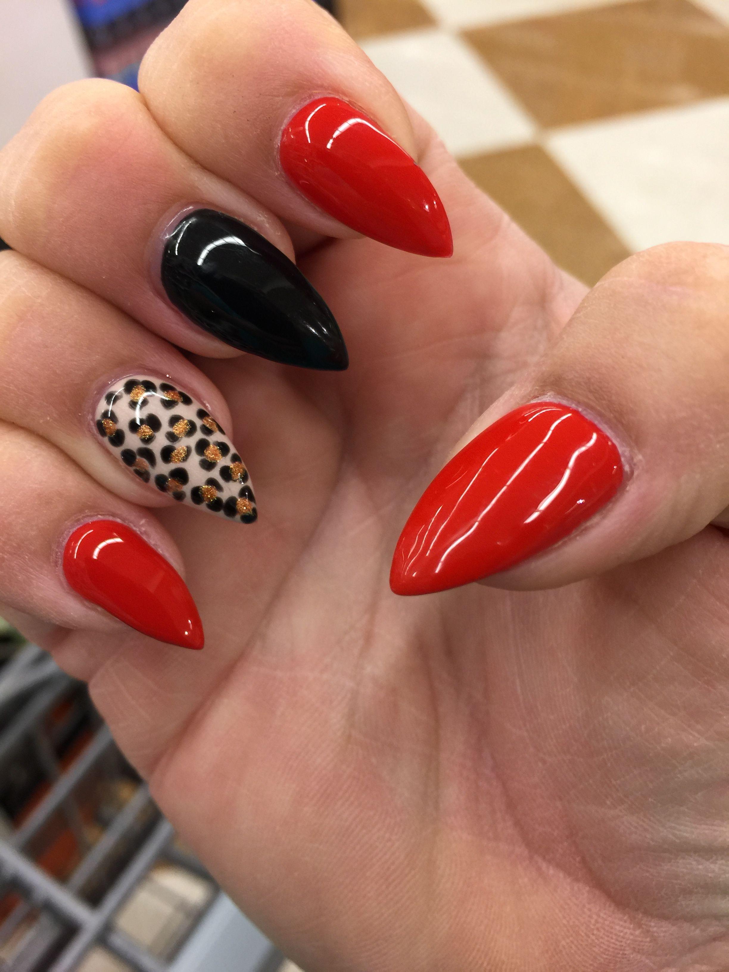 stiletto nails red black