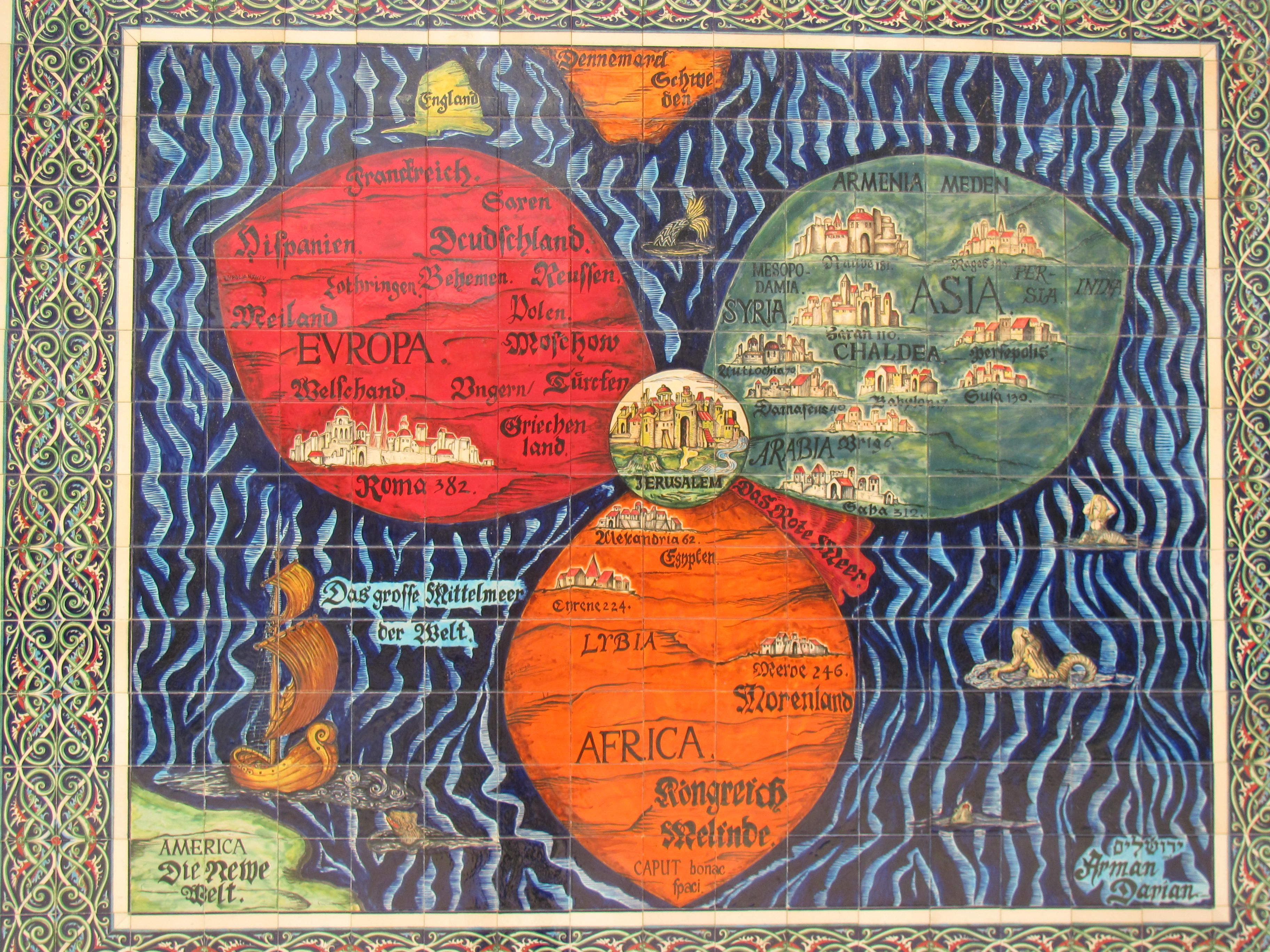 Jerusalem the center of the world in an old map israel jerusalem the center of the world in an old map gumiabroncs Images