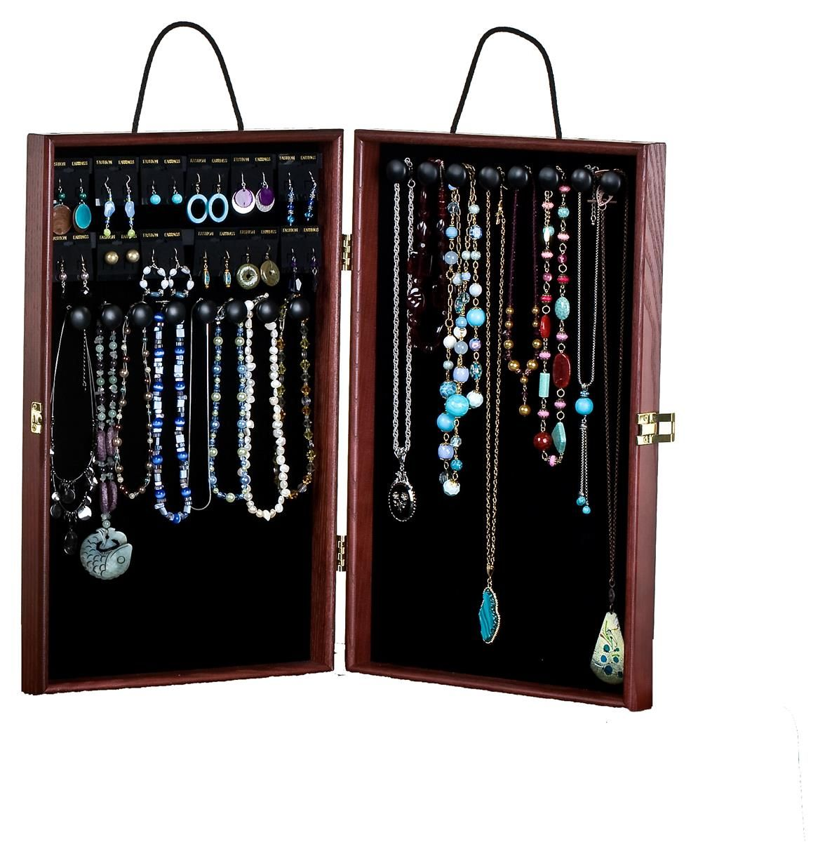Portable Jewelry Case W Earring Cards 16 Hooks Velvet