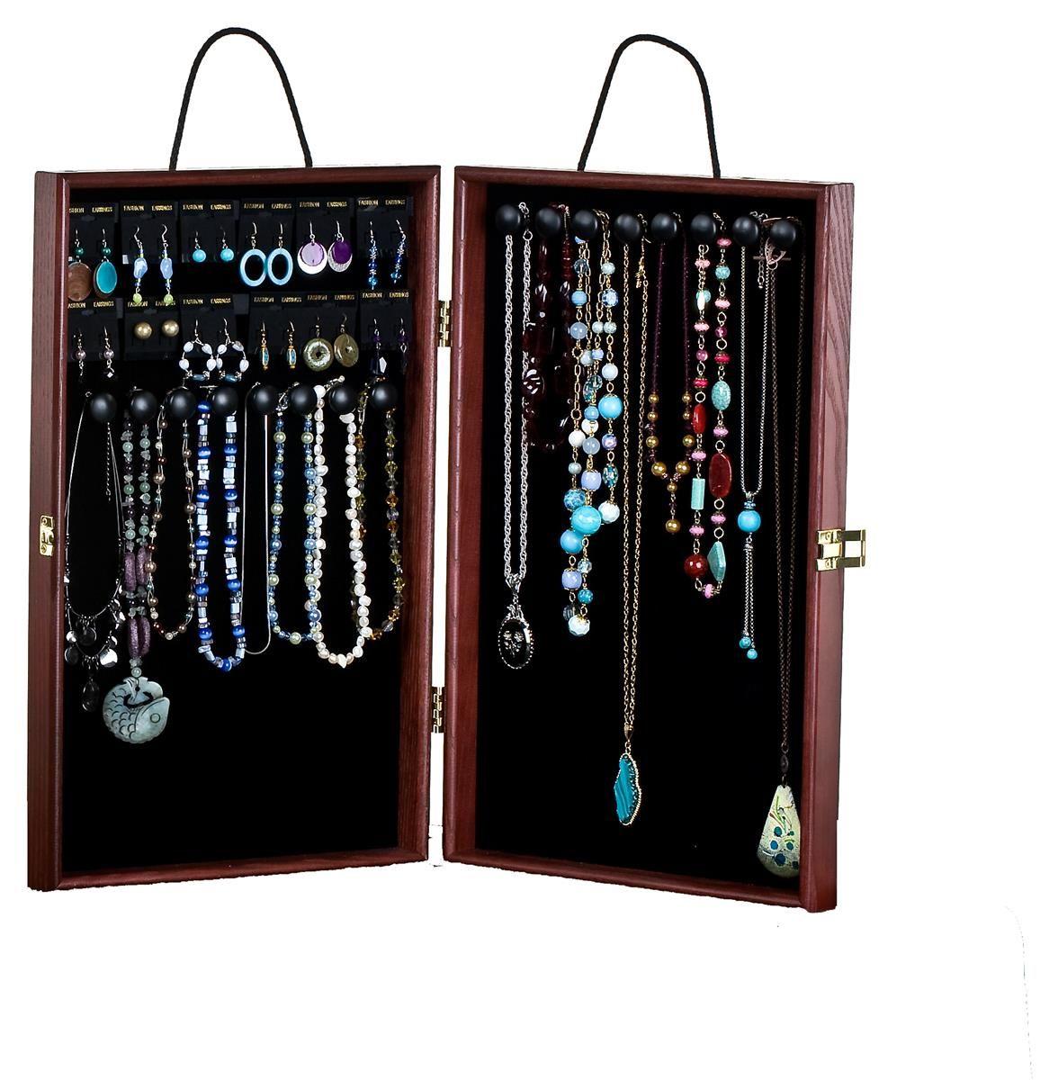 Portable Jewelry Case W/ Earring Cards & 16 Hooks, Velvet