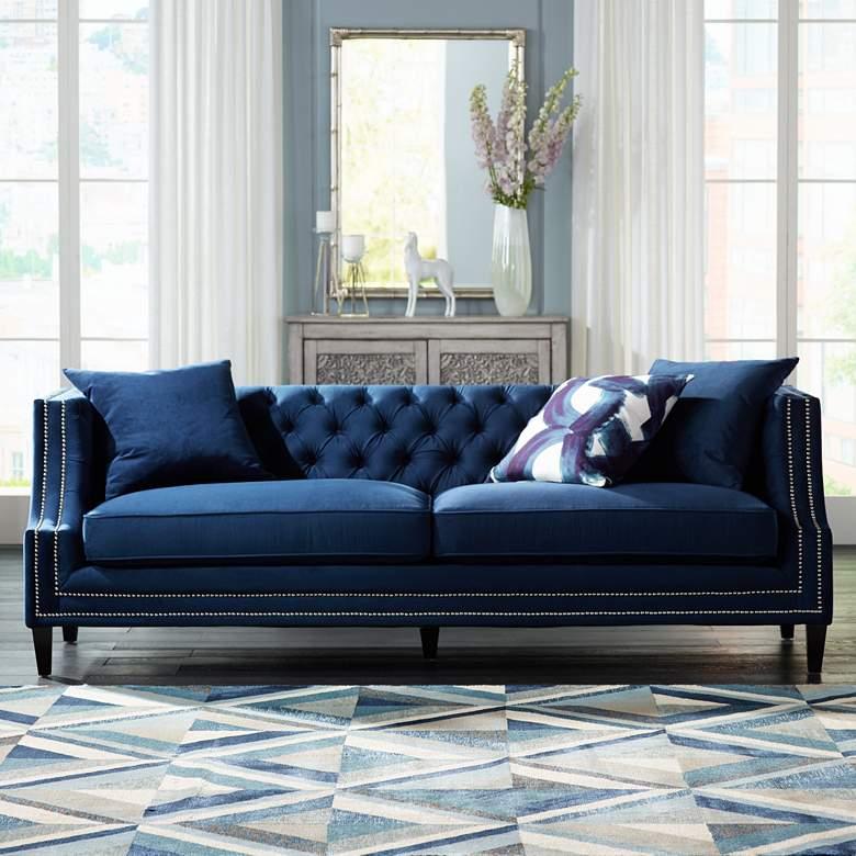 Marilyn 93 Wide Blue Velvet Tufted Upholstered Sofa 20w77 Lamps Plus In 2020 Living Room Sofa Design Blue Sofas Living Room Blue Couch Living Room #velvet #tufted #living #room #set