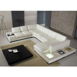 Awesome T35 White Leather Sectional Sofa With Lights