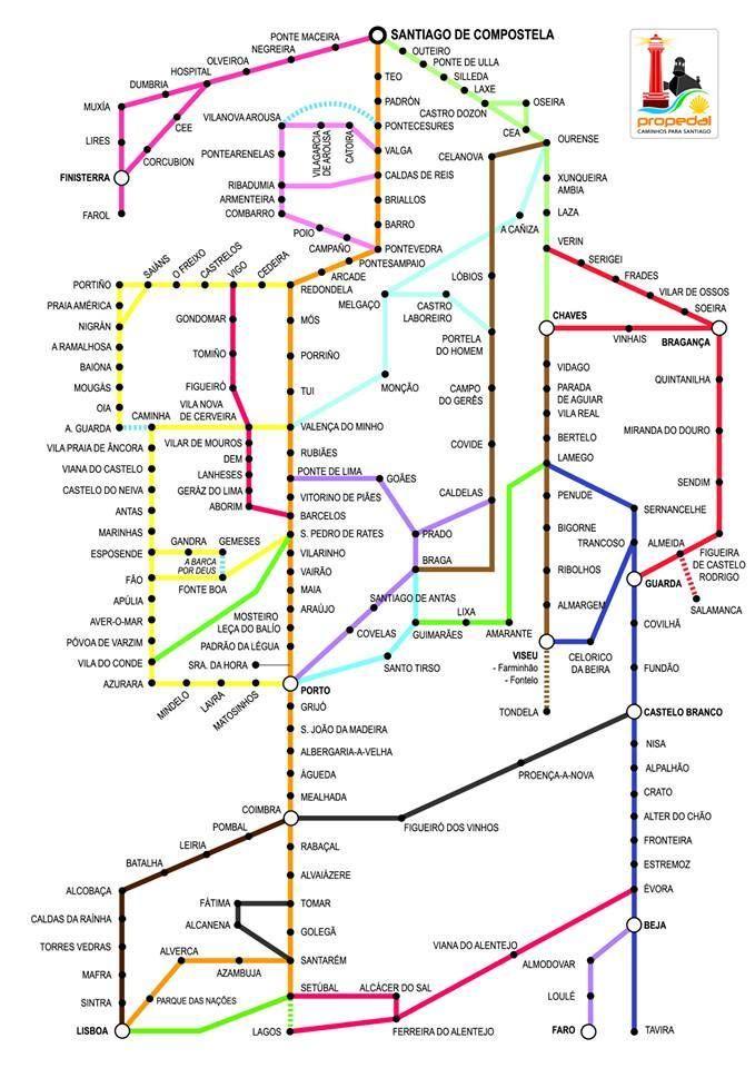 Mapa dos caminhos portugueses (c) Manuel Rocha. Esposende