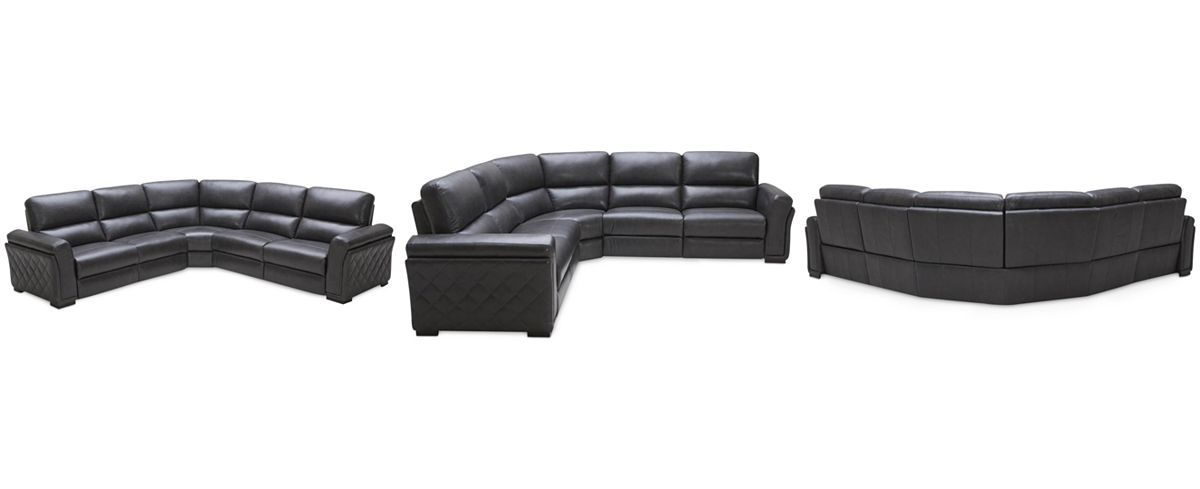 Wondrous Jessi Quilted Side Leather 5 Piece Sectional With 3 Power Pabps2019 Chair Design Images Pabps2019Com