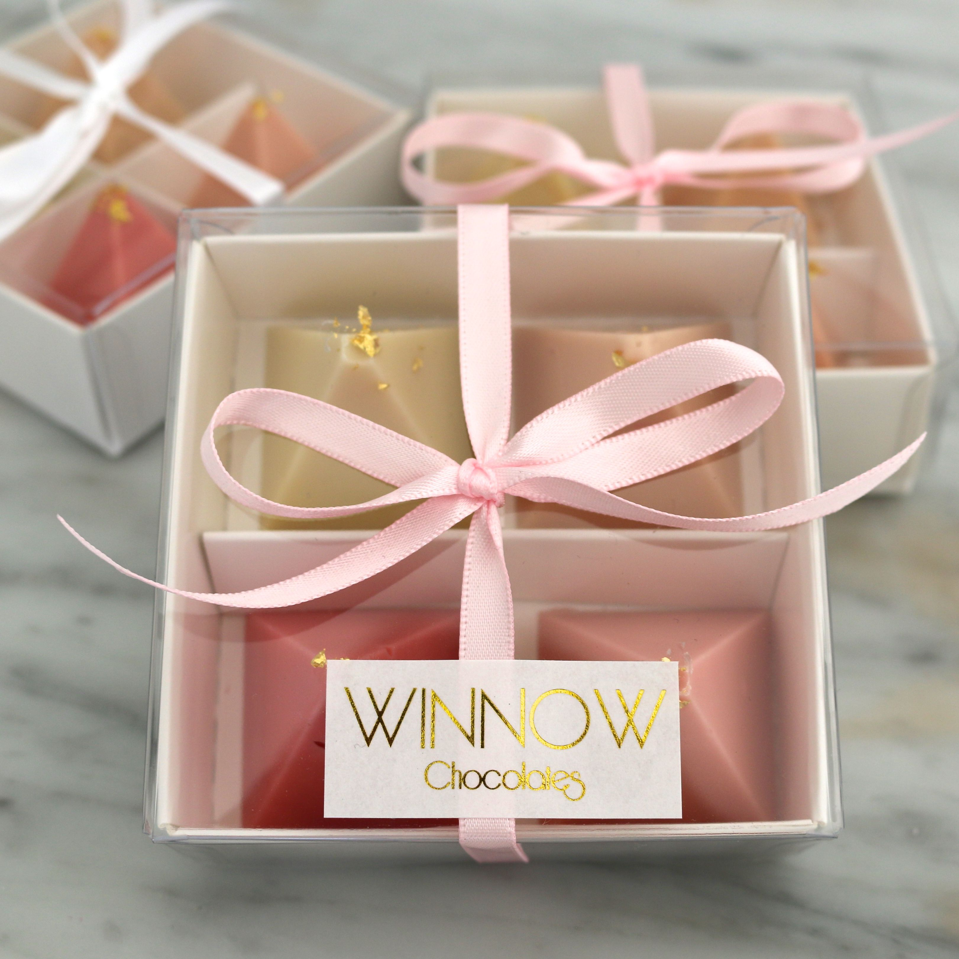 Winnow Chocolates Wedding Favours Pretty Pink Ombre Box With