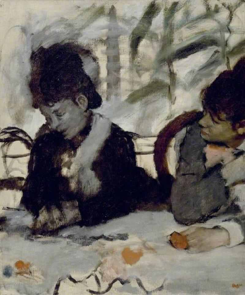 """huariqueje:Edgar Degas (1834-1917)At the Café /Au café (c.1875–1877)""""There is a little painting by Edgar Degas at the Fitzwilliam Museum in Cambridge which, from time to time, I like to look at. It is an oil of two young women sitting at a café table. While the woman on the left sits pensively with her head slightly to one side looking down at the table, the woman on the right, and half out of frame, is leaning over as though about to say something. What is most powerful to me about the…"""