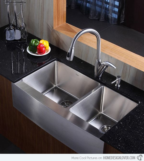 15 Functional Double Basin Kitchen Sink Home Design Lover Stainless Steel Farmhouse Sink Kitchen Sink Design Modern Kitchen Sinks