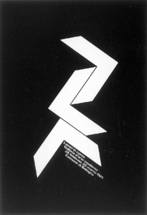 """agfronzoni:  """" Lavori in corso  Galleria d'arte moderna  28 febbraio-28 marzo 1981  Comune di Bologna  Poster  Designer: AG Fronzoni  Year: 1981  Client: Galleria d'Arte Moderna, Bologna, Italy  Printing method: Lithograph  Collection: Museum of Modern..."""