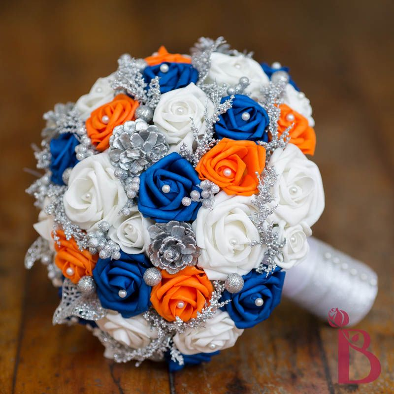 royal blue flowers for wedding royal blue tangerine orange wedding bouquet silk wedding 7155