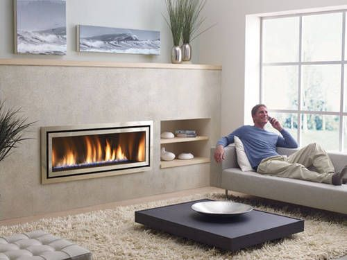 Gas Fireplace Ideas | Modern Small Living Room With Ventless