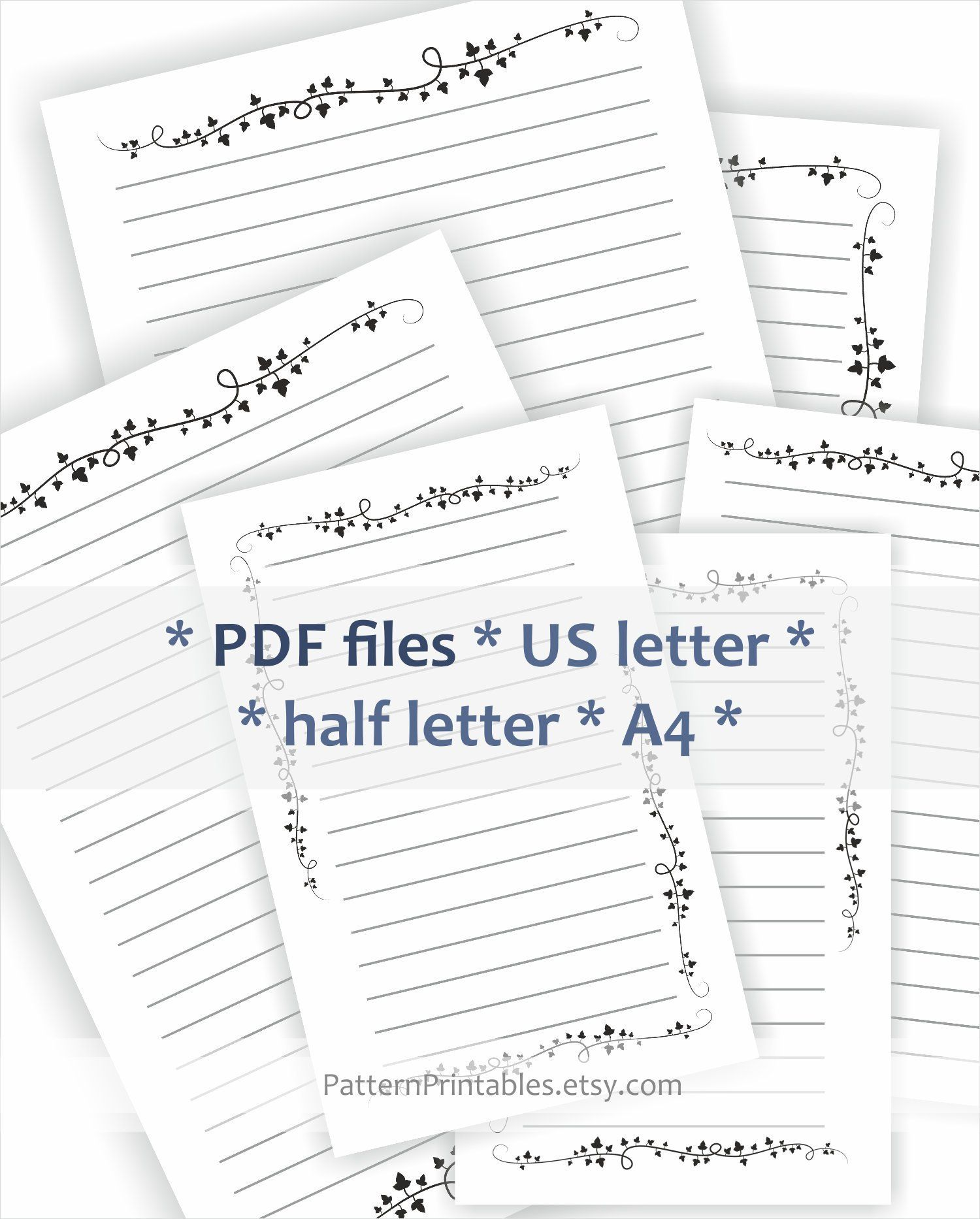 image regarding Printable Pdf Files referred to as Coated letter creating paper. Printable pdf. Black and white