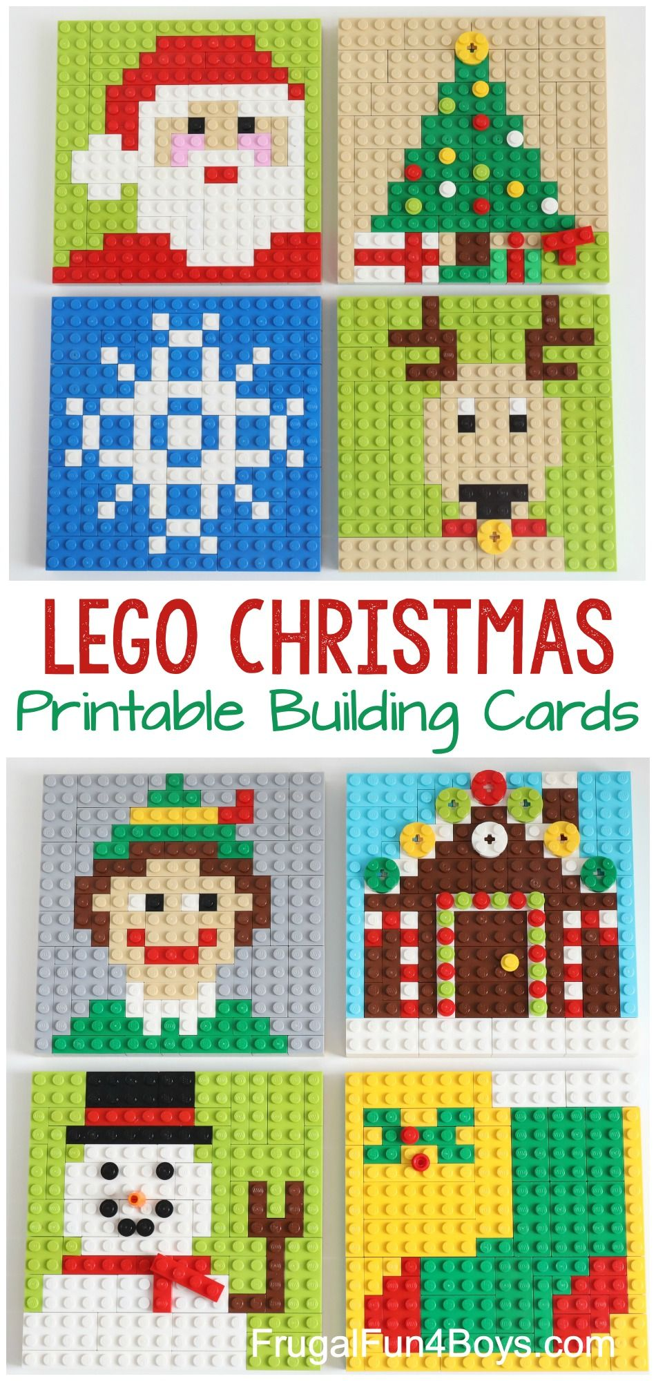 Printable LEGO Christmas Building Cards