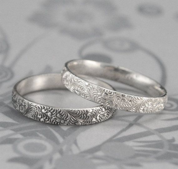 Womens Wedding Ring Pattern Wedding Band Embossed Ring Nature Etsy In 2020 Silver Wedding Bands Embossed Rings Wedding Rings For Women