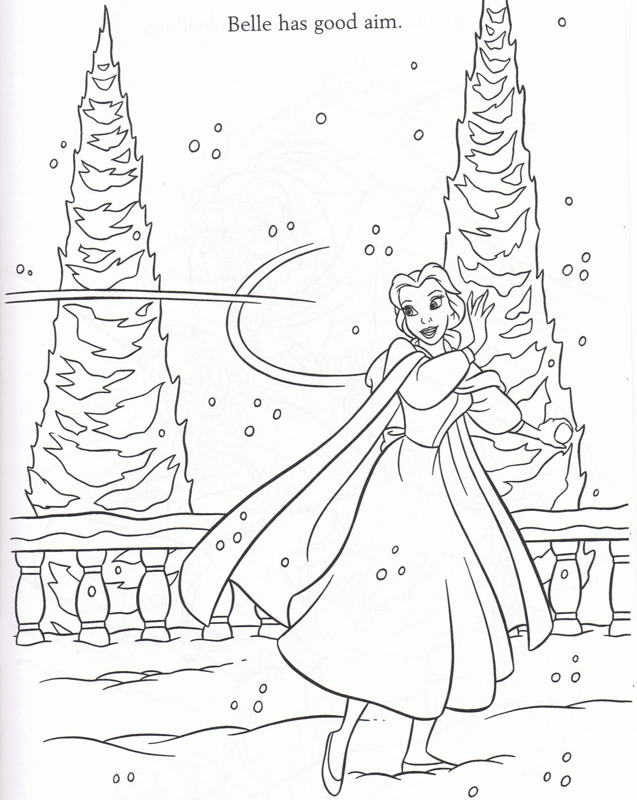 Belle Colouring Sheets