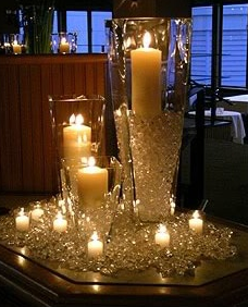 candle and glitter decorating for party, New Year's Ever decorating with candles and crystals