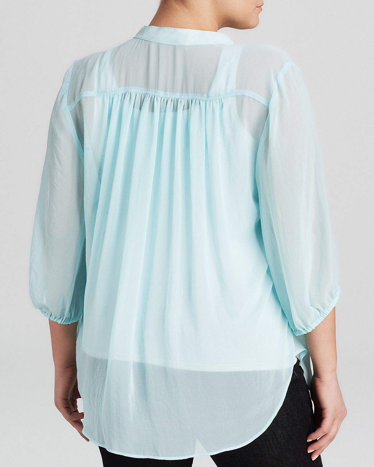 Karen Kane Plus Size Aqua Blue Shirred Blouse | Bloomingdale's  #Karen_Kane #Plus_Size #Aqua #Blue #Shirred #Blouse #Top #Plus #Size #Womens #Fashion #KarenKane #Plus_Size_Fashion #Bloomingdales