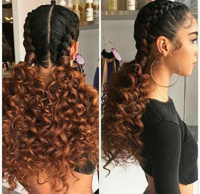 Ombre Boxer Braids With Curly Extensions Black Girl Hair
