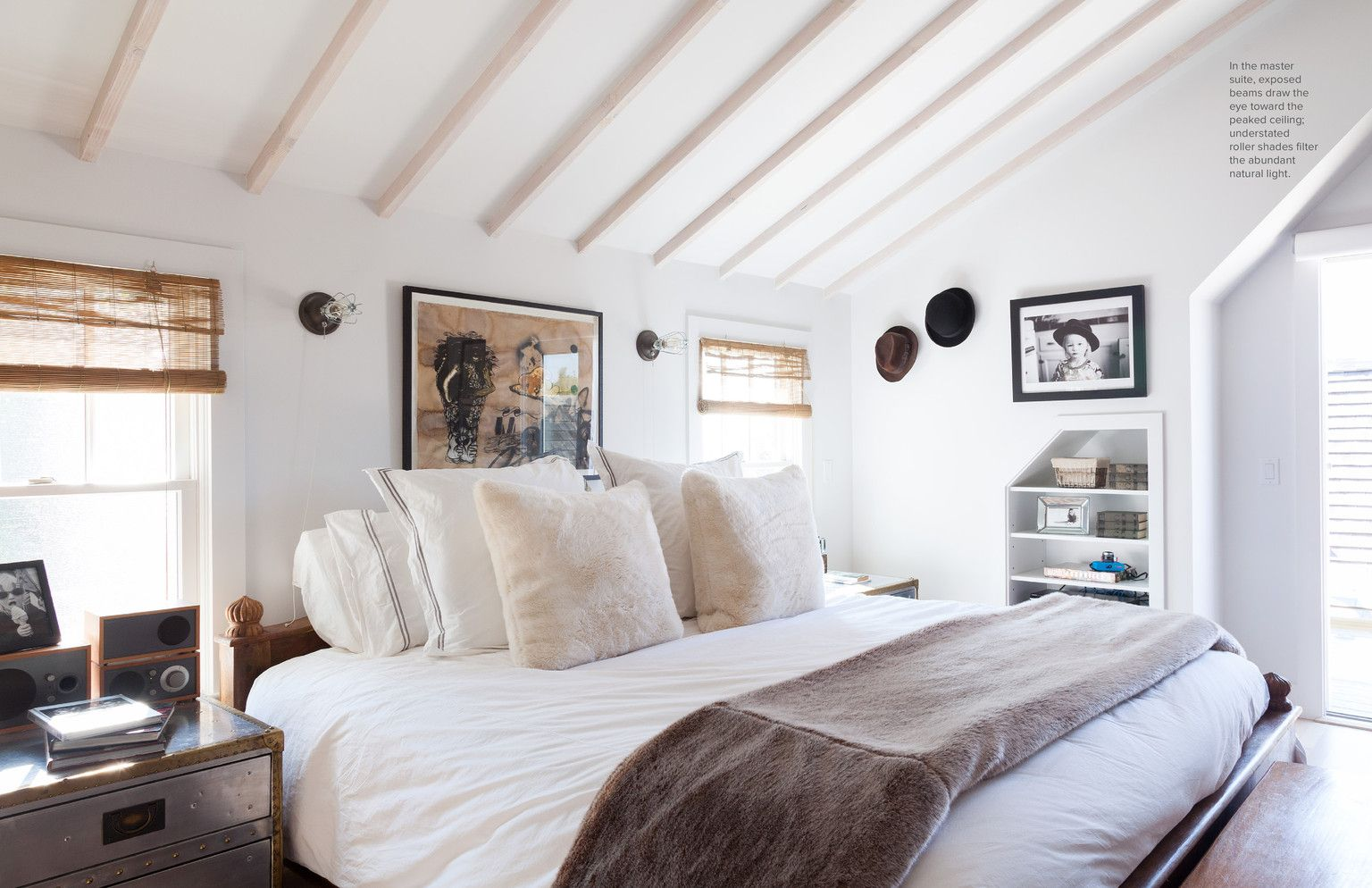 July August 2013 Lonny Magazine Lonny Bamboo Roller Shades Serene Bedroom Home Bedroom Home Cool bedroom ideas lonny
