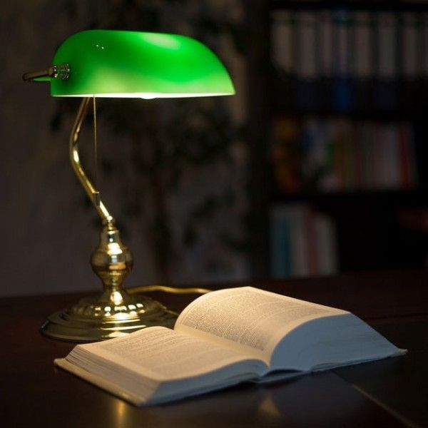 Desk Lamp With Satin Blown Glass Lampshade Regression In Two Layers The Body Is Made Of Stainless Steel With Golden Finish Wid Bankers Lamp Library Lamp Lamp