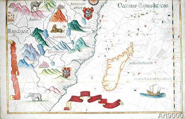 Diego+Homem+-+Madagascar+and+East+African+Coastline,+detail+from+a+world+atlas,+1565