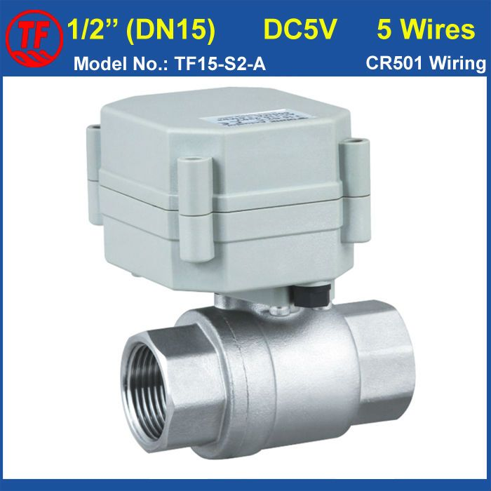 Tf15 S2 A Dc5v 5 Wires Motorized Ball Valve Npt Bsp Thread 1 2 Dn15 Stainless Steel Electric Actuator Valve F Electric Water Valve Water Valves Water Heating