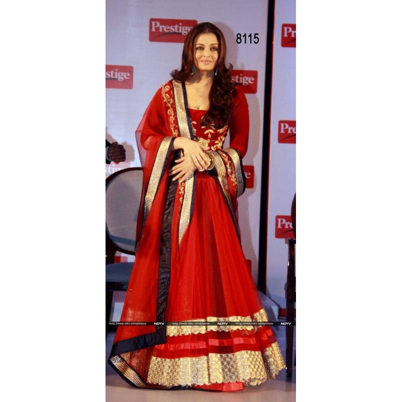 Bollywood Replica - Aishwarya Rai Velvet + Net Red Lehenga - GC-8115 (IB-645)