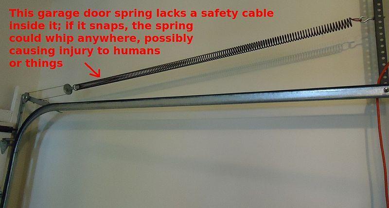 Garage Door Spring Needs A Safety Cable Through It Garage Door