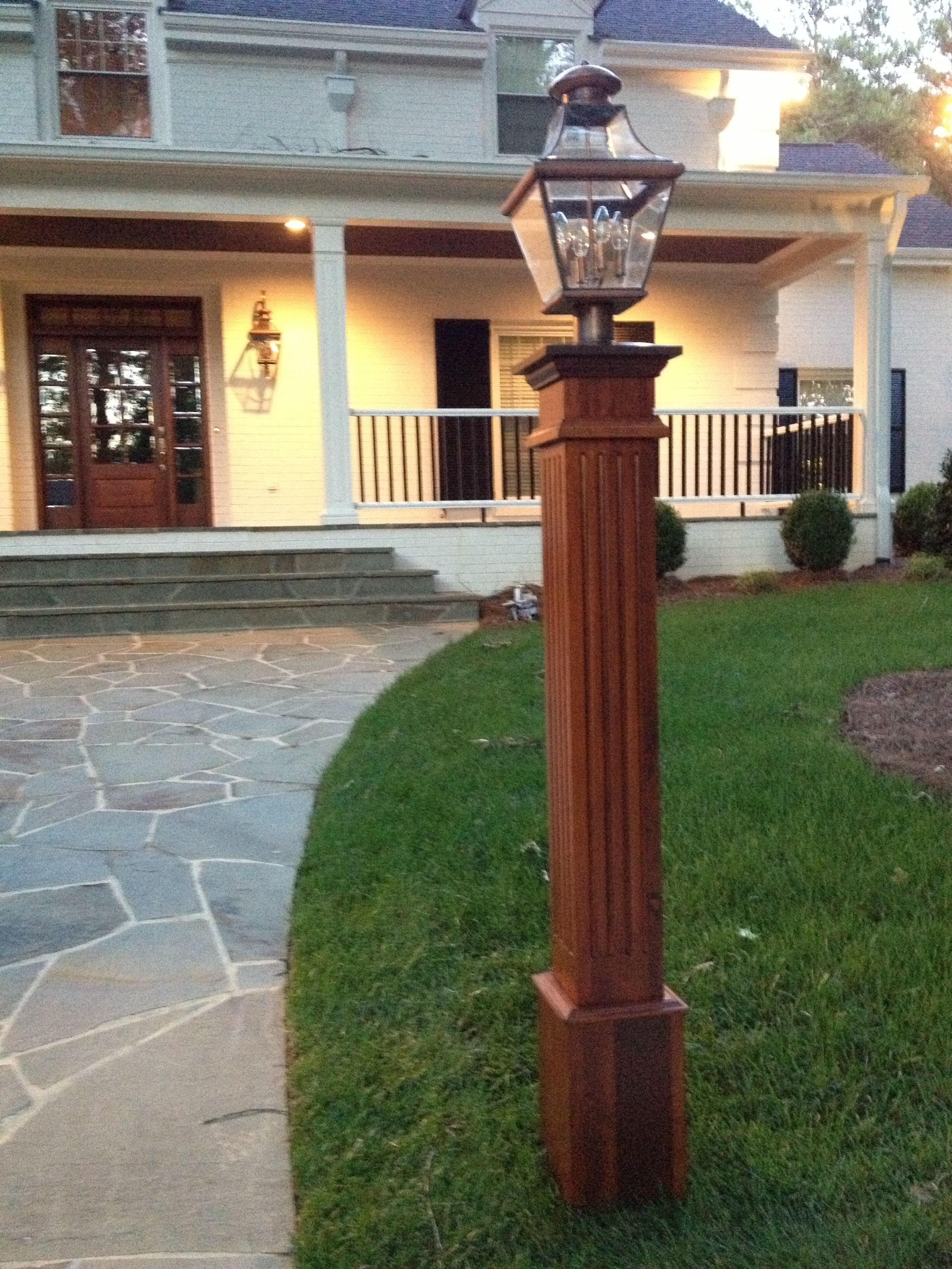 Wood outdoor lamp post - Cedar Lamp Post To Match Cedar Shingles And Red Brick Grey Stucco And White Trim