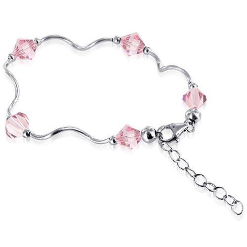 Sterling Silver Light Rose Crystal Bracelet with Swarovski Elements