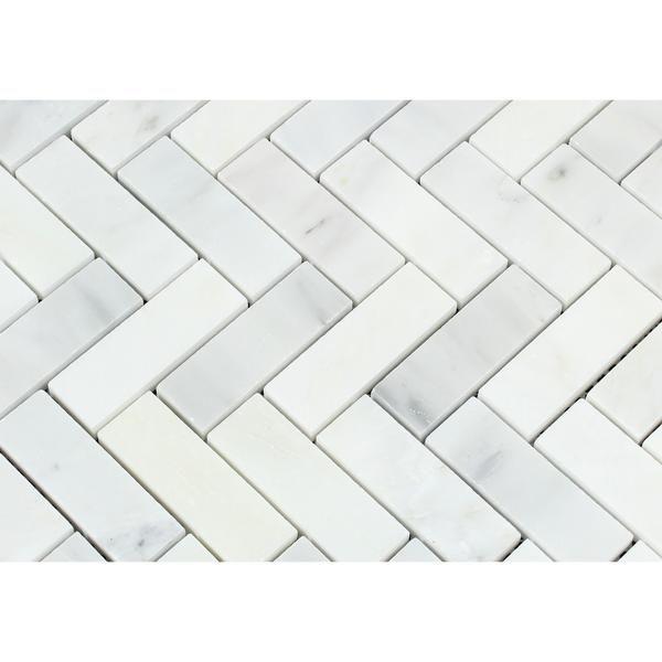 Oriental White Asian Statuary Marble Polished 1 X 3 Herringbone Mosaic Tile Herringbone Mosaic Tile Mosaic Tiles Statuary