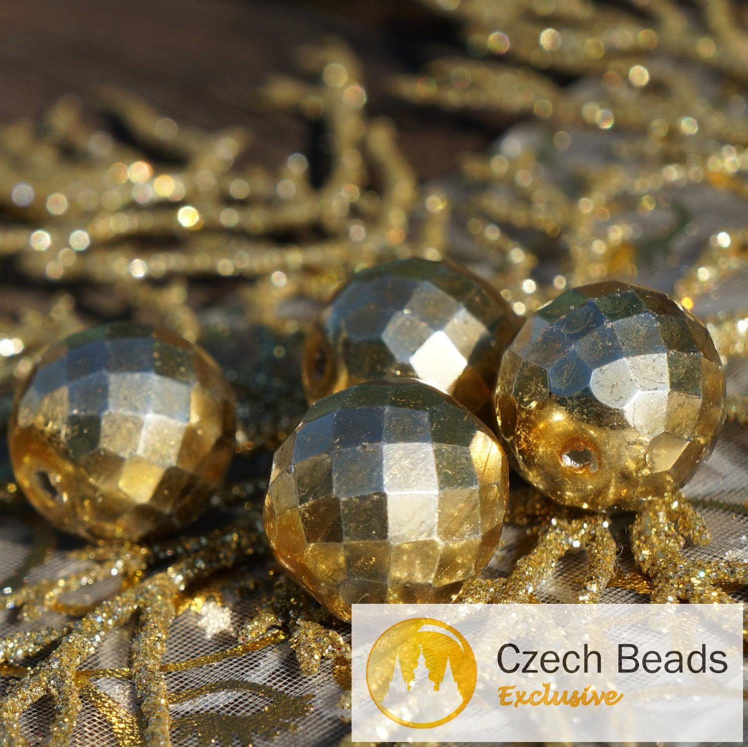a what s hot today large metallic gold faceted czech glass beads