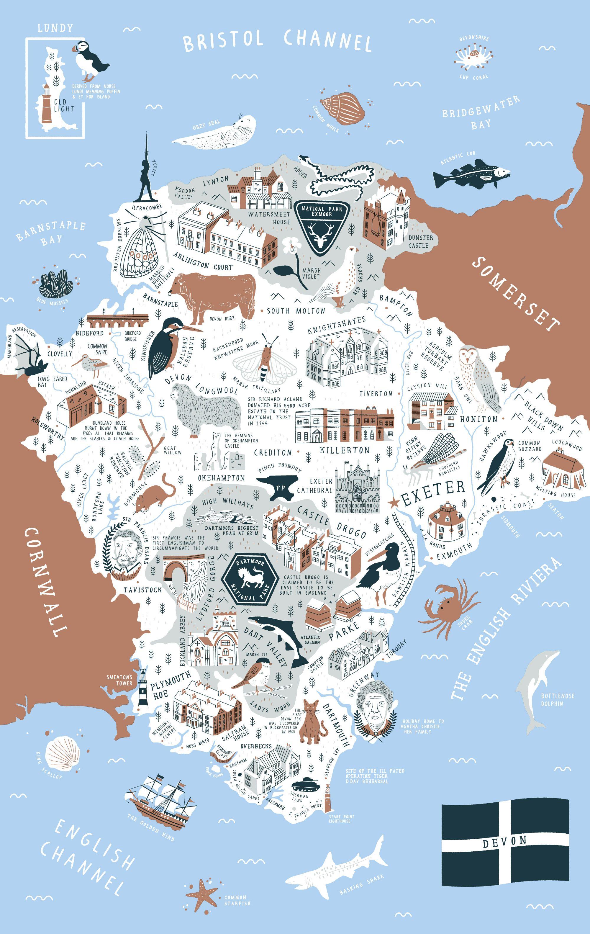 Map Of Uk Devon.Devon Map Stuart Hill Illustration Illustrations Maps In 2019