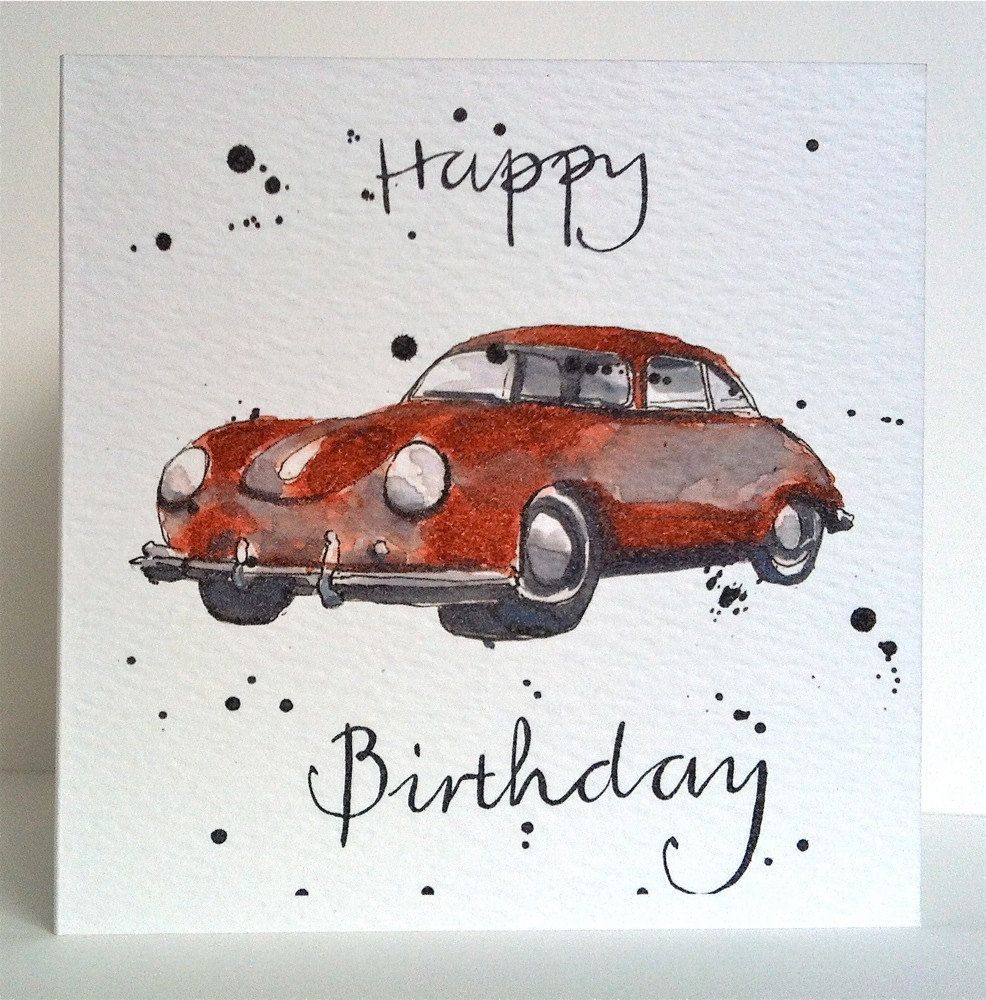 Porsche birthday card from original illustration - Vintage karten basteln ...