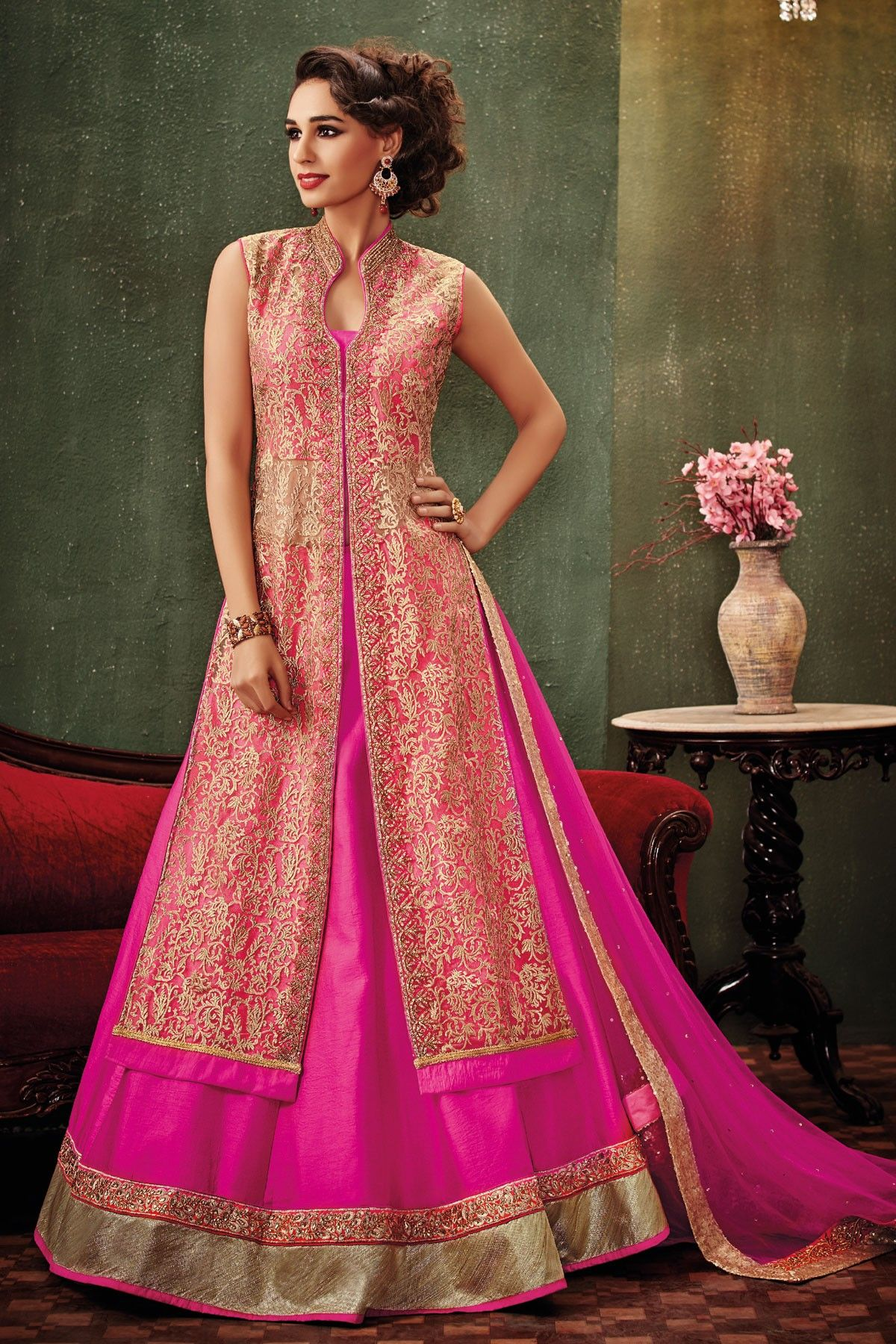 Hot #pink & #gold embroidered raw silk & net #dazzling #lehenga with ...