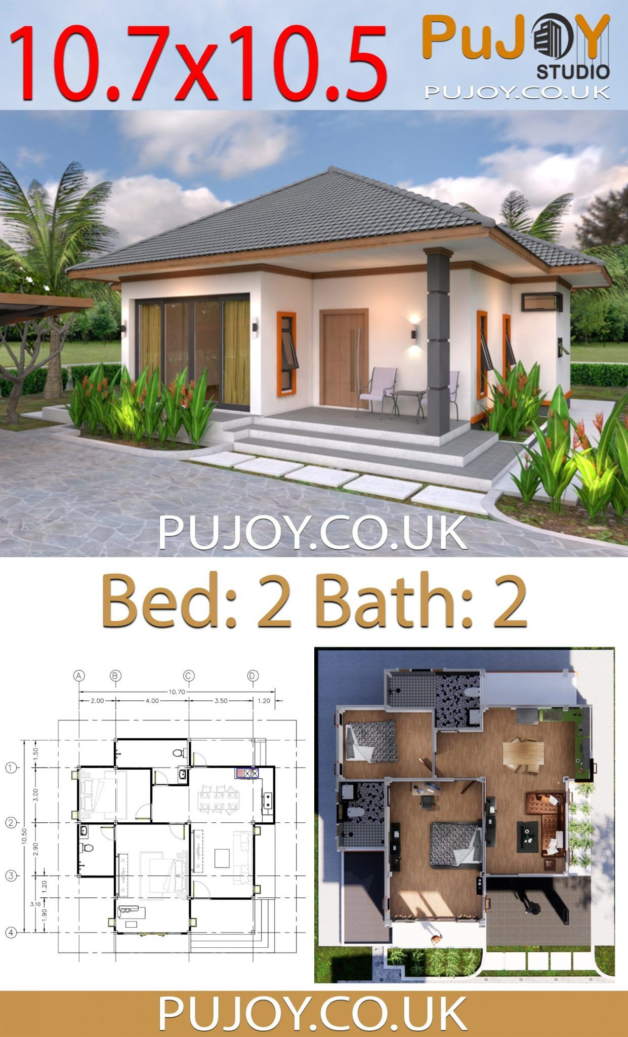 PuJOY Studio » One Story House Plans 10.7x10.5 with 2