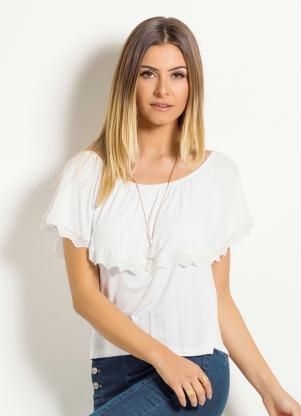 5f0c01e938 Blusa Ciganinha Quintess (Branca) com Babado