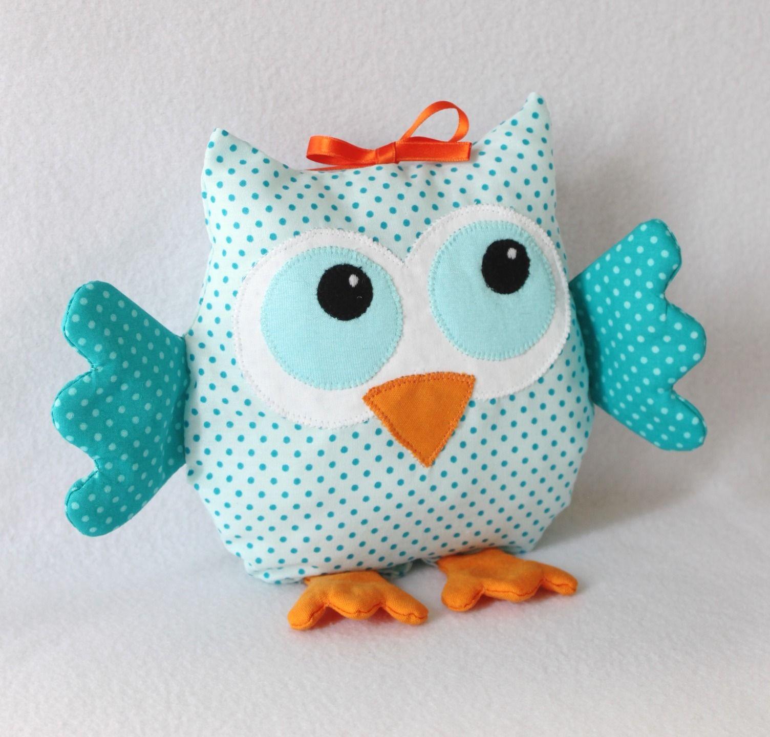 Mobile petite chouette en tissu bleu turquoise pour enfant ...