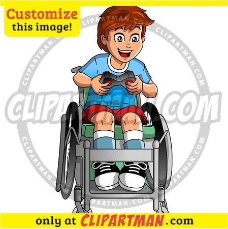 disability clipart wheelchair gamer special needs cartoon