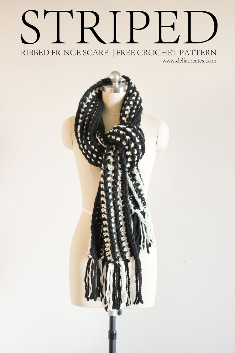 Striped Ribbed Fringe Scarf – Free Crochet Pattern | Crochet ...