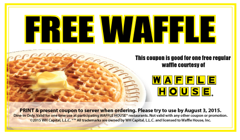 picture regarding Mcalister's Coupons Printable referred to as WAFFLE Place $$ Coupon for Totally free Every month Waffle! Cafe