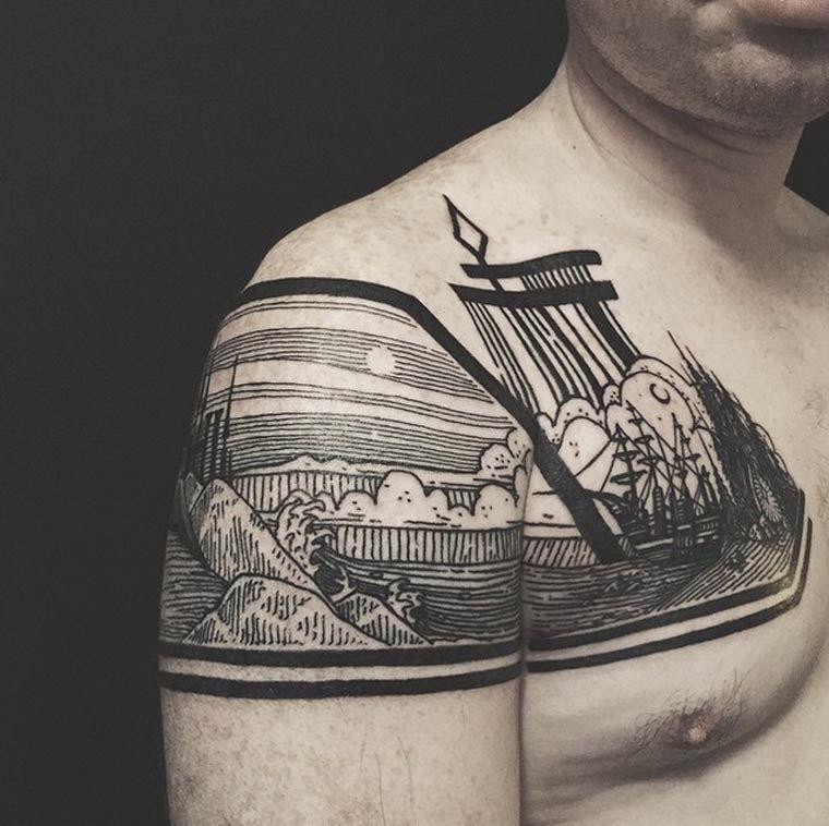 belas tatuagens monocrom ticas por thieves of tower. Black Bedroom Furniture Sets. Home Design Ideas