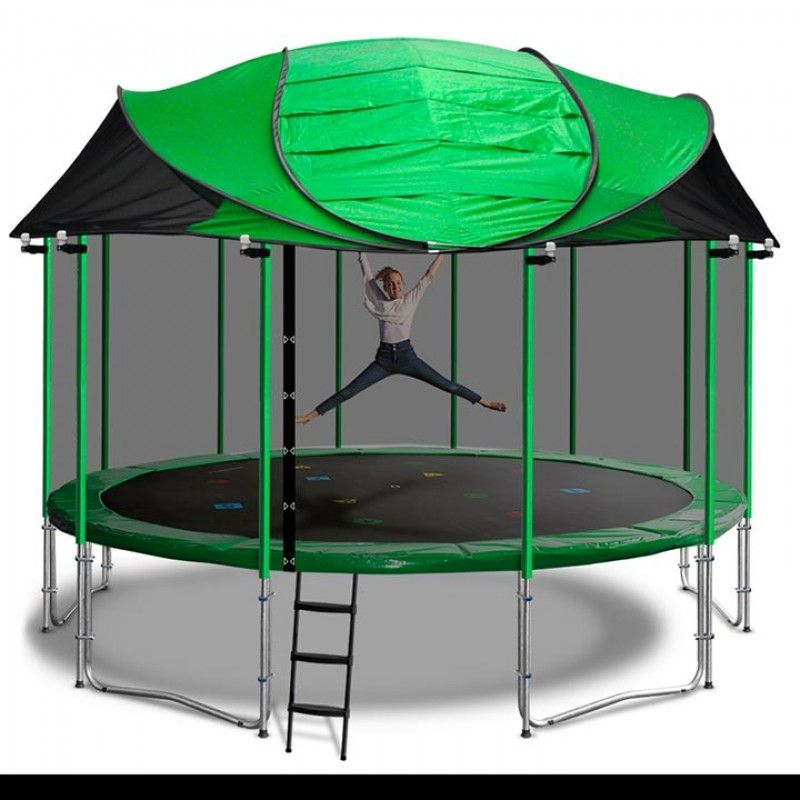 New Universal Green Trampoline Canopy Roof With Dome Poles For All Major Brands Backyard Trampoline Diy Canopy Backyard Canopy