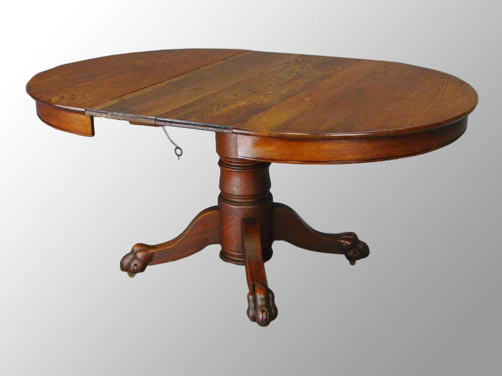 Oak Round Dining Table Antique Claw Foot